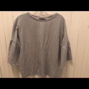 Striped Ruffle Sleeve Blouse NWOT